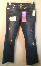 Almost Famous Jeans women juniors NWT size 11 blue bootcut bling distressed NEW