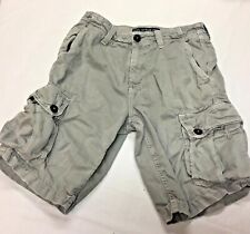 Men's AEO AMERICAN EAGLE Gray CARGO Shorts Size 28 Flat Front 100% Cotton