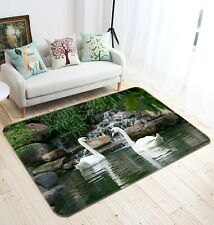 3D Waterfall Lake Swan R110 Animal Non Slip Rug Mat Round Elegant Carpet Zoe