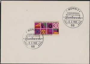 GERMANY 1968 Crafts Traditions Sc#981 FDC unaddressed @D3375