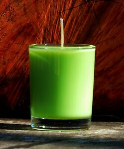 40hr PASSIONFRUIT & LIME Strong Scent PURE ECO SOY WAX Votive Glass Jar CANDLE