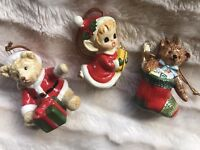 Vtg Lot of 3 Made in Japan Christmas X-Mas Ornaments Decorations Teddy Bear