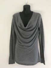 WITCHERY GREY LONG SLEEVE SCOOP NECK WOOL BLEND TOP SIZE M AS NEW
