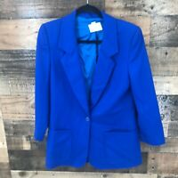 Vintage Pendleton Women's Royal Blue 100% Virgin Wool 2 Button Blazer