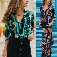 Femme Floral Imprimé Décontracté Col V Shirts Bouton Chemisers à Manches Longue