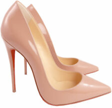 Christian Louboutin So Kate Pointed Toe Pumps Nude Patent Leather Shoes 38