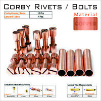 Knife Mounting Hardware 12 Copper Rivets 4 Lanyard Tubes Knife Making Supply