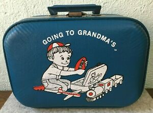 Vintage Going To Grandma's Boys Luggage Blue Hard Suitcase Overnight Travel Bag