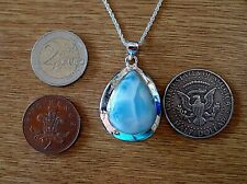 Chunky Sterling Silver and Peardrop  Dominican Larimar Necklace 14.1g