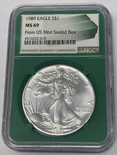 1989 AMERICAN EAGLE 1 OUNCE SILVER DOLLAR NGC MS 69  FROM US MINT SEALED BOX