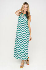 Firefly Zoe Maxi Summer Dress,Printed Casual Dress, Aqua Cotton DressesSize 14