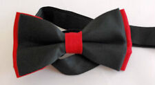 NEW PLAIN BLACK & RED MEN'S PRE-TIED BOW TIE ADJUSTABLE DICKIE WEDDING PROM