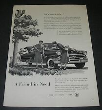 Print Ad 1955 Bell Telephone Flat Tire Friend in Need Not Man in Sight Lineman.