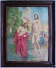 Antica icona litografia capoletto Battesimo di Gesù