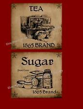 Farmhouse Primitive Style Sugar & Tea Labels    #228