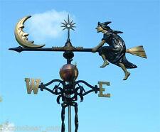 Weathervane Witch on a Broom Crescent Moon Wind Vane Lightning Rod Robbins