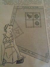 """PATRON ORIGINAL POUR LA POUPEE """" BLEUETTE LINGERIE PANTALON DECEMBRE 1937"""