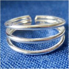 TOE RING STERLING SILVER 925 ADJUSTABLE PLAIN SOLID DOUBLE BAND BEACH MIDI women
