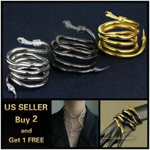 Snake Necklace Choker Jewelry Statement Women Chain Bracelet Gold Silver Black *
