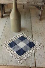 Antique French Vichy crochet lace edge napkin ? textile c 1900