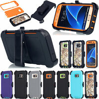 For Samsung Galaxy S7 Edge Hybrid Hard Shockproof Case W/Belt Clip Holster Cover