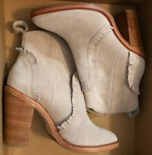 NWT Joie Womens Mathilde Closed Toe Buff Fringe Ankle Boots Size 36.5(US6.5)