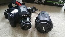 "PENTAX K-5 DSLR Camera bundle (two lenses and bag) ""excellent condition"""