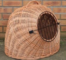 hand made LARGE - Wicker Pet Carrier Igloo /Dog Cat Rabbit, Natural Crate