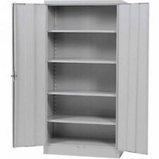 "Metal Storage Cabinet Steel Locking With Doors Lock Garage Shop 72"" Tall Grey"