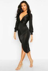 Boohoo twist front plunge neck Dress UK 8 women slinky disco ladies black midi