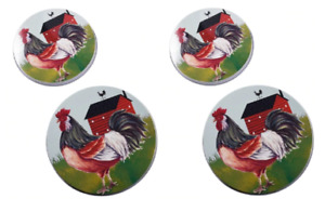 4 Pcs Complete Rooster Red Barn Burner Cover Set for Stove 2 x 10in 2 x 8in