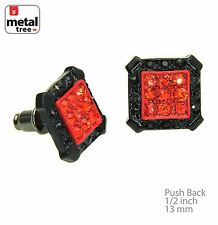 Men's Fashion Iced Out Black & Red Square Micro Pave CZ Stud Earrings TE505 BKRD