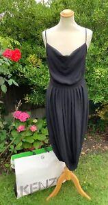 KENZO STUNNING SUMMER RICKY COCKTAIL RUNWAY BLACK DRESS  SIZE 8 10 £392 Receipt