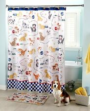 Playful Dogs Shower Curtain Puppies Paws Cartoon Kids Checkered Yarn Bath Set