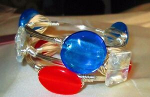 Triple stack, The Star Spangled stack, sea glass wire-wrapped bangle, bracelet,