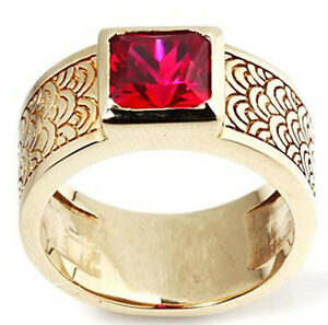 RED RUBY JAPANESE SEIGAIHA WAVE CREST GOLD BRASS RING
