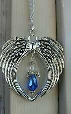 September sapphire Angel Suncatcher Crystal Wings Rear View Mirror car charm