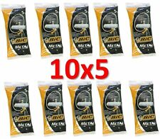 50 BIC METAL Mens Disposable Safety Razors (10 packs of 5) Free US Shipping