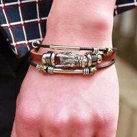 Fashion Multilayer Leather Wristband Casual Punk Magnetic Buckle Bangle Bracelet