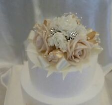 Artificial Flower Wedding ,Anniversary,Cake Topper Champagne Ivory Hand Crafted