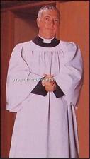 White Surplice Traditional Clergy Style Round Neck Poly/Cotton Gathered Yoke