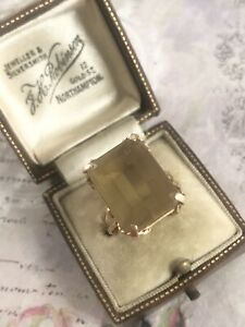 Vintage 18ct Yellow Gold Large Emerald Cut Citrine Cocktail Dress Ring Size Q