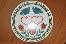"""Vtg NOS Jacob Zook Signed Hex Sign PA Dutch Amish 7 3/4"""" Love & Marriage Heart"""