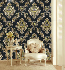 Luxury Heavy Texture Damask Wallpaper Black/Gold/Brown for Home Accent Wall