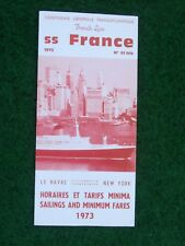 SS France folleto crucero le havre-New York 1973 cruise brochure