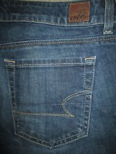 AMERICAN EAGLE 77 Straight Stretch Dark Blue Denim Jeans Womens Size 6 S x 30