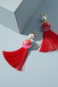 NWT Anthropologie Calida Fringed Drop Earrings Red