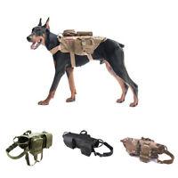 Military Dog Harness Pet Training Vest with Pouches Bags S M L XL