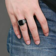 Black Onyx Signet Rings For Men Wedding Band Silver Color Square Stainless Steel