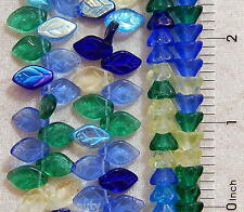 100 Czech Glass Assorted Tulip Cone Scalloped Flower Leaf Mix Leaves Beads